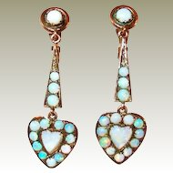 Edwardian 10Kt Gold Opal Heart Drop Earrings FINAL REDUCTION SALE