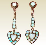 Edwardian 10Kt Gold Opal Heart Drop Earrings