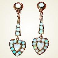 Edwardian 10Kt Gold Opal Heart Drop Earrings FINAL REDUCTION SALE