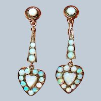 Last Chance SALE Edwardian 10Kt Gold Opal Heart Drop Earrings