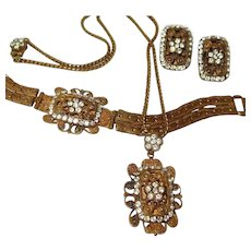 Detailed Revival Period Book-chain Bracelet Necklace Earring Set