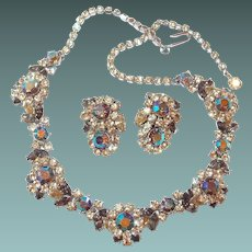 Scarce Crown Trifari 1950s Dimensional Necklace Earring Rhinestone Set Blue Aurora Borealis