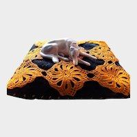 German Porcelain Greyhound Dog on Pillow Pincushion