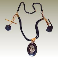 Locket Jet Fob Mourning Hair Work Necklace FINAL REDUCTION SALE with Pearl Lily-of-the-Valley
