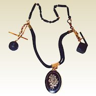 Locket Jet Fob Mourning Hair Work Watch Chain Necklace with Pearl Lily-of-the-Valley