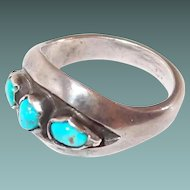Old Pawn Three Nugget Turquoise Sterling Ring