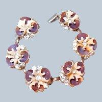 Pansy Shell and Brilliant Rhinestone Bracelet Last Chance SALE