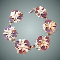 Pansy Shell and Brilliant Rhinestone Bracelet