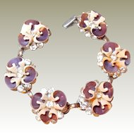 Pansy Shell and Brilliant Rhinestone Bracelet FINAL REDUCTION SALE