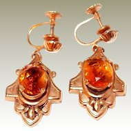 Victorian Revival Drop Earrings with Citrine Crystals End of Year BLOWOUT SALE