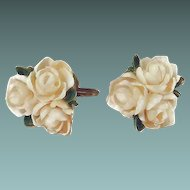 Delicate Flower Earrings Hand-made with Sea Shells