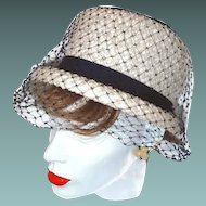White Navy Pillbox Hat Navy Netting and Grosgrain Ribbons Over Basket Weave
