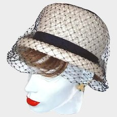 White Navy Pillbox Hat Navy Netting Grosgrain Ribbons Over Basket Weave