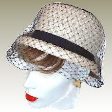 White Navy Pillbox Hat FINAL REDUCTION SALE Navy Netting Grosgrain Ribbons Over Basket Weave