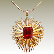 Trifari Red Ruby Starburst Pendant Necklace