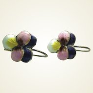 Chinese Pansy Enamel Sterling Hook Earrings FINAL REDUCTION SALE