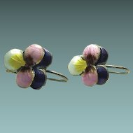 Chinese Pansy Enamel Sterling Hook Earrings