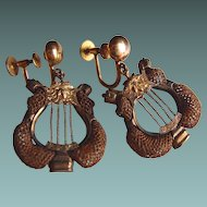 Victorian Lyre 10kt Gold Hair-work Earrings