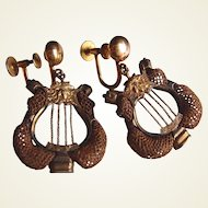 Victorian Lyre 10kt Gold Hair-work Earrings FINAL REDUCTION SALE