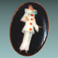 Antique Porcelain Pierrot Brooch New Orleans Estate