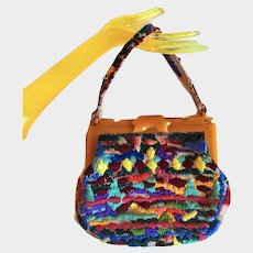 Colorful 1930's Plastic Frame Purse with Mid Century Embroidery