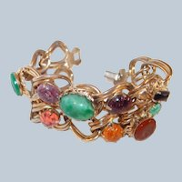 Wide Double Chain Cabochon Bracelet