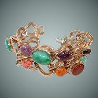 Wide Double Chain Cabochon Bracelet