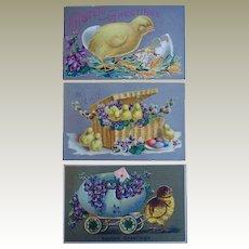 Easter Chicks Tucks Postcard Lot of 3