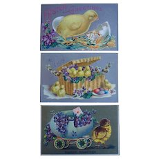 Easter Chicks Tucks Postcard Lot of 3