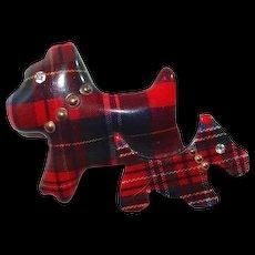 Lucite Scottie Dogs Pin with Scottish Plaid Fabric Brass Rivet Collars and Rhinestone Eyes