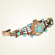 Antique 14kt Gold Bracelet with Precious Opals