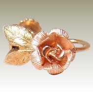 Krementz FINAL REDUCTION SALE Golden Rose Earrings in Yellow and Pink Rolled Gold