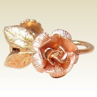 Krementz Golden Rose Earrings in Yellow and Pink Rolled Gold