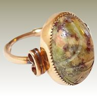 Hand Carved Jadeite Scarab Ring Amco 12K GF