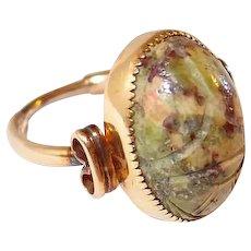 Hand Carved Jadeite Scarab Ring Final Reduction SALE Amco 12K GF