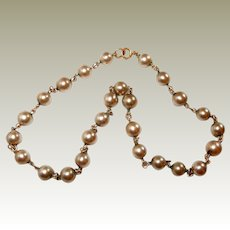Chain Dark Faux Pearl Short Necklace