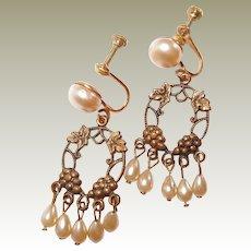 Dainty Faux Pearl Drop Earrings Grape Leaf Motif