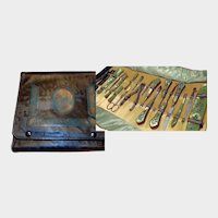 Art Deco Embossed Leather Silhouette Encased Celluloid Manicure Set with Blue Rhinestones
