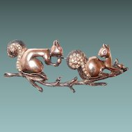 Sterling Squirrel and Nut Figural Brooch with Gold Vermeil, Book Piece
