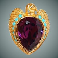 Egyptian Falcon Bird Ring Size 7.5 by Elizabeth Taylor for Avon