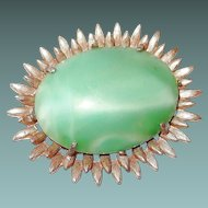 Large Green Slag Glass Brooch with Spiked Frame