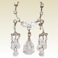 Art Deco Drop Crystal and Paste Earring and Necklace Set