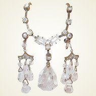 Art Deco Drop Crystal and Paste Earring Necklace Set