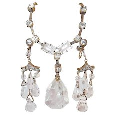 Art Deco Crystal and Paste Dangle Earring Necklace Set