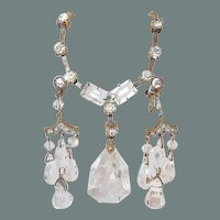 BIG SALE Art Deco Drop Crystal and Paste Earring Necklace Set
