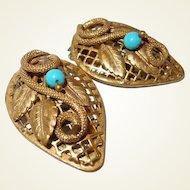 Coiled Snake Dress Clip Set Turquoise Glass Final Reduction SALE