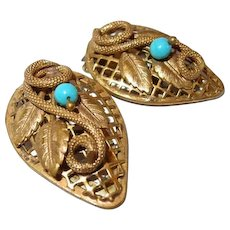 Coiled Snake Dress Clip Set Turquoise Glass
