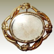 Swivel Victorian Mourning Brooch FINAL REDUCTION SALE Large Unused Rolled Gold