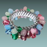 Pastel Glass Bead Expansion Bracelet in Blue Pink Green