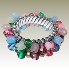 Pastel Glass Bead Expansion Bracelet Final Reduction SALE Blue Pink Green